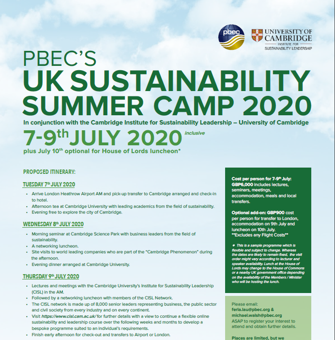 PBEC's UK Sustainability Summer Camp 2020