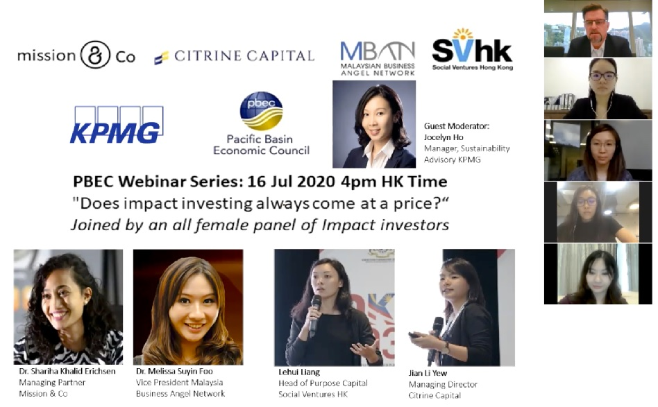 PBEC assembled an all Young Women Business Leaders Panel live discussion on Impact Investing across Asia – Does it always come at a price for investors?